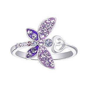 Silver Plated Crystal Dragonfly & Heart Ring