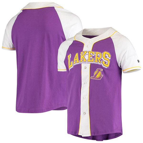 Men's New Era Purple Los Angeles Lakers Raglan Jersey Button-Up T-Shirt