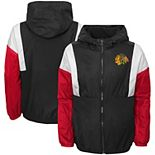 Youth Black Chicago Blackhawks Stadium Colorblock Full-Zip Windbreaker Jacket