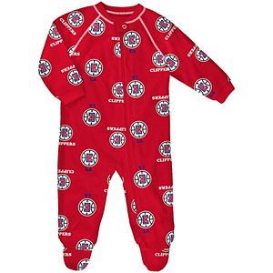 Newborn & Infant Red LA Clippers Raglan Full-Zip Sleeper