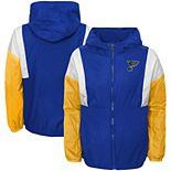 Youth Blue St. Louis Blues Stadium Colorblock Full-Zip Windbreaker Jacket