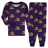 Toddler Wes & Willy Purple LSU Tigers All Over Print Long Sleeve Pajama Set