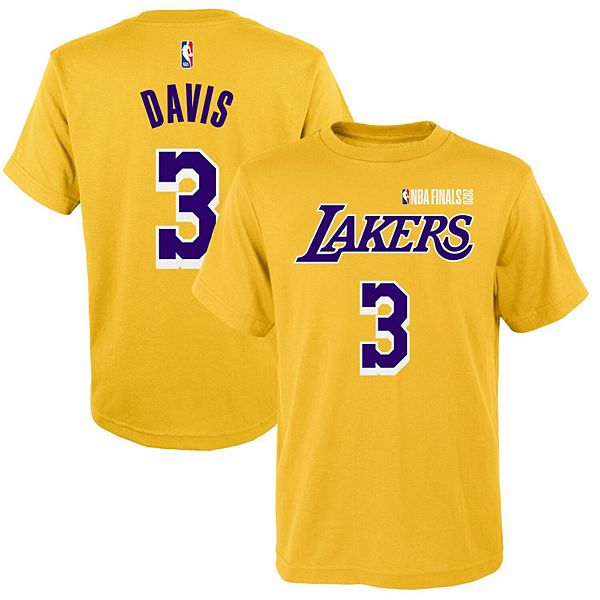 Youth Anthony Davis Gold Los Angeles Lakers 2020 NBA Finals Bound Name & Number T-Shirt