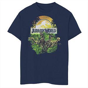 Boys 8-20 Jurassic World Raptor Group Shot Title Logo Graphic Tee