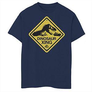 Boys 8-20 Jurassic Park Dinosaur Crossing Yellow Sign Graphic Tee