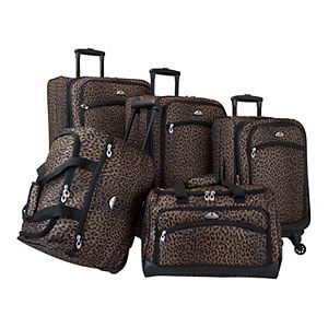 American Flyer AnimalPrint 5-Piece Softside Spinner Luggage Set