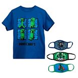 Boys 8-20 Minecraft Graphic Tee & 3-Pack Face Mask Set