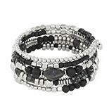 Sonoma Goods For Life® Silver Tone & Black Beaded Coil Bracelet