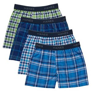 Boys 6-20 Hanes Ultimate 4-Pack Plaid Boxers