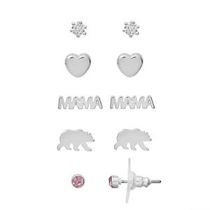 LC Lauren Conrad Silver Tone Mama Bear Mother's Day Earring Set