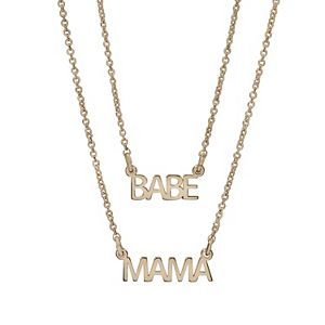 """LC Lauren Conrad """"Babe"""" & """"Mama"""" Mother's Day Necklace Set"""