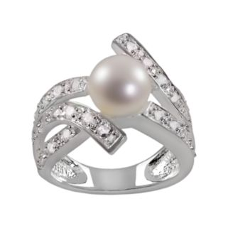 Sterling Silver White Topaz and Freshwater Cultured Pearl Bypass Ring
