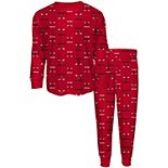 Youth Red Chicago Bulls Allover Print Long Sleeve T-Shirt and Pants Sleep Set