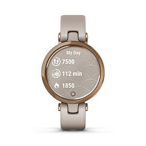 Garmin Lily - Cream Gold Bezel with Black Case and Italian Leather Band