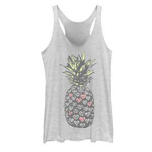 Juniors' Pink Hearts Pineapple Tank Top