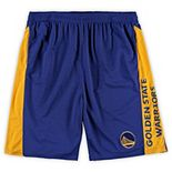 Men's Fanatics Branded Royal/Gold Golden State Warriors Big & Tall Wordmark Logo Practice Shorts