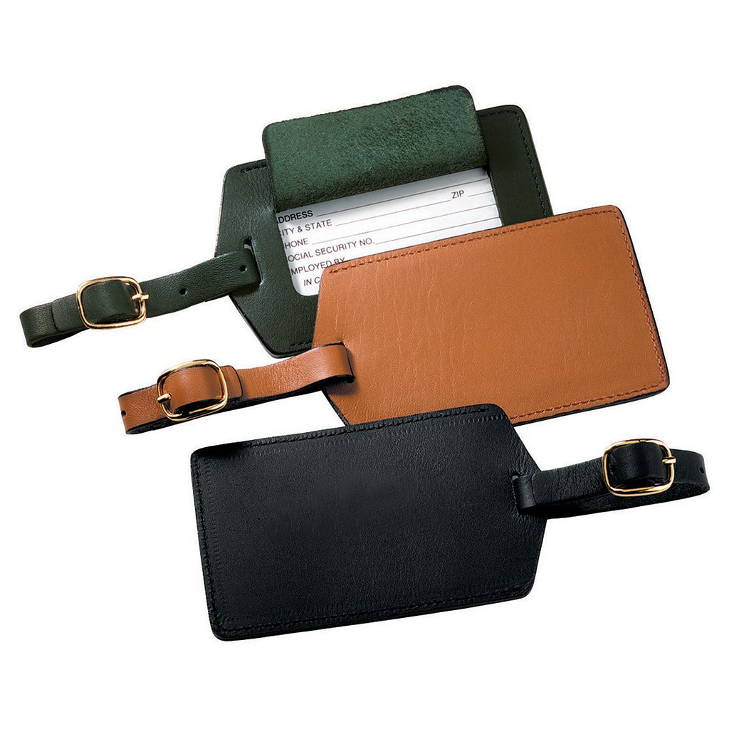 Royce Privacy Flap Leather Luggage Tag