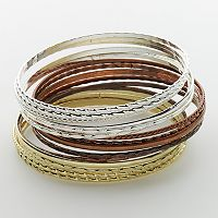 SO®Tri-Tone Bangle Bracelet Set