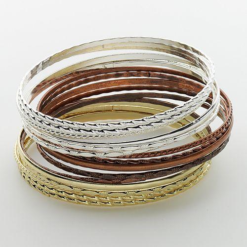 Mudd® Tri-Tone Bangle Bracelet Set