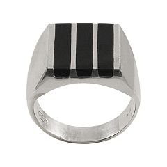 Sterling Silver Onyx Bar Ring - Men