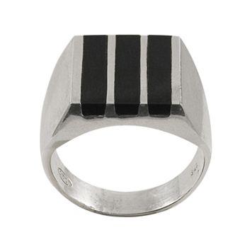 Sterling Silver Onyx Bar Ring - Men