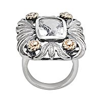 14k Gold & Sterling Silver Quartz Crystal Floral Ring