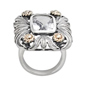 14k Gold and Sterling Silver Quartz Crystal Floral Ring