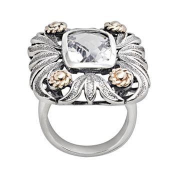 14k Gold & Sterling Silver Quartz Crystal Floral Ring