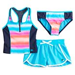Girls 7-16 ZeroXposur Misty Morning Tankini, Bottoms & Cover-Up Shorts Swimsuit Set