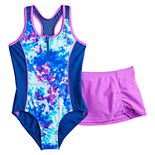 Girls 7-20 ZeroXposur Tidal Torrent One-Piece & Cover-Up Skirt Swimsuit Set