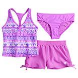 Girls 7-16 ZeroXposur Doodle Dip Tankini Top, Bottoms & Shorts Swimsuit Set