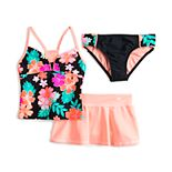 Girls 7-20 ZeroXposur Tutti Frutti Tankini Top, Bottoms & Cover-Up Skirt Swimsuit Set
