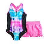 Girls 7-16 ZeroXposur Rainbow Falls One-Piece & Cover-Up Shorts Swimsuit Set