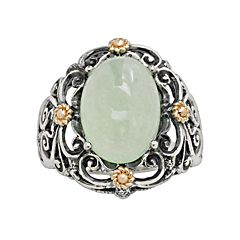 14k Gold & Sterling Silver Jade Ring
