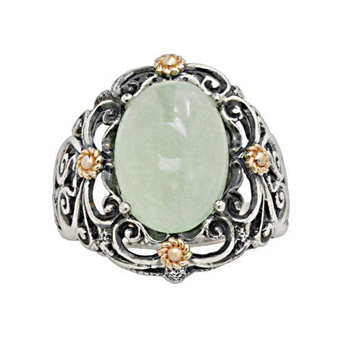 14k Gold & Sterling Silver Jade Ring