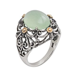 14k Gold and Sterling Silver Jade Ring