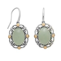 14k Gold & Sterling Silver Jade Drop Earrings