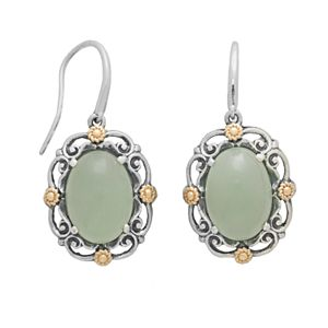 14k Gold and Sterling Silver Jade Drop Earrings
