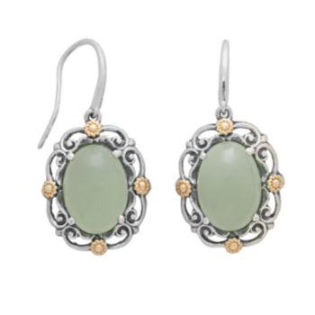 14k Gold and Sterling Silver Jade Drop Earrings
