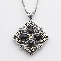 14k Gold & Sterling Silver Smoky Quartz Filigree Pendant