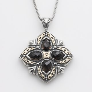 14k Gold and Sterling Silver Smoky Quartz Filigree Pendant