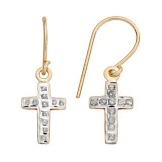 Diamond Fascination 14k Gold Cross Drop Earrings