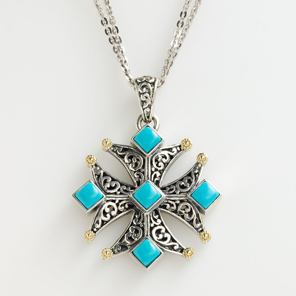 14k Gold & Sterling Silver Turquoise Cross Pendant