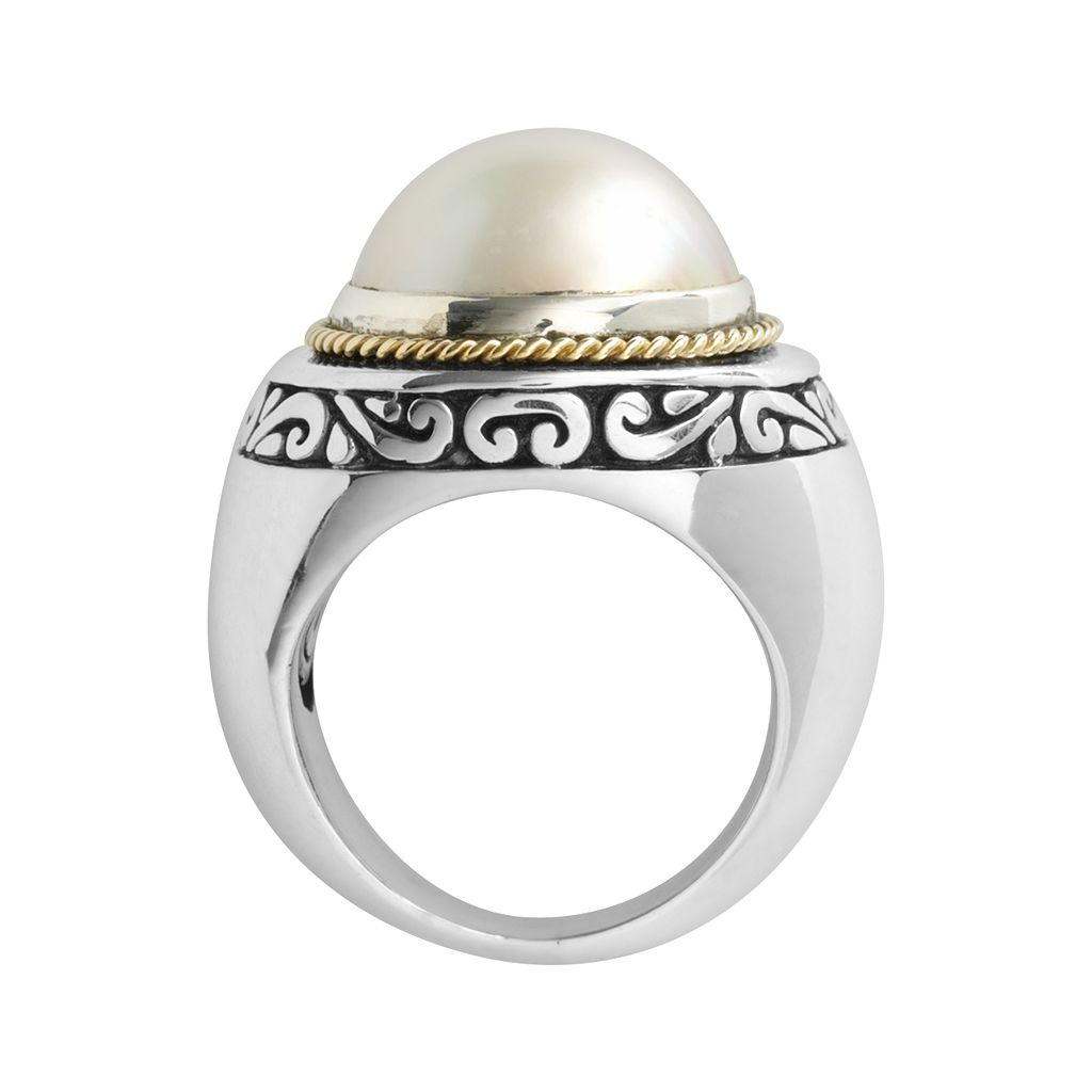 14k Gold and Sterling Silver Freshwater Cultured Pearl Ring