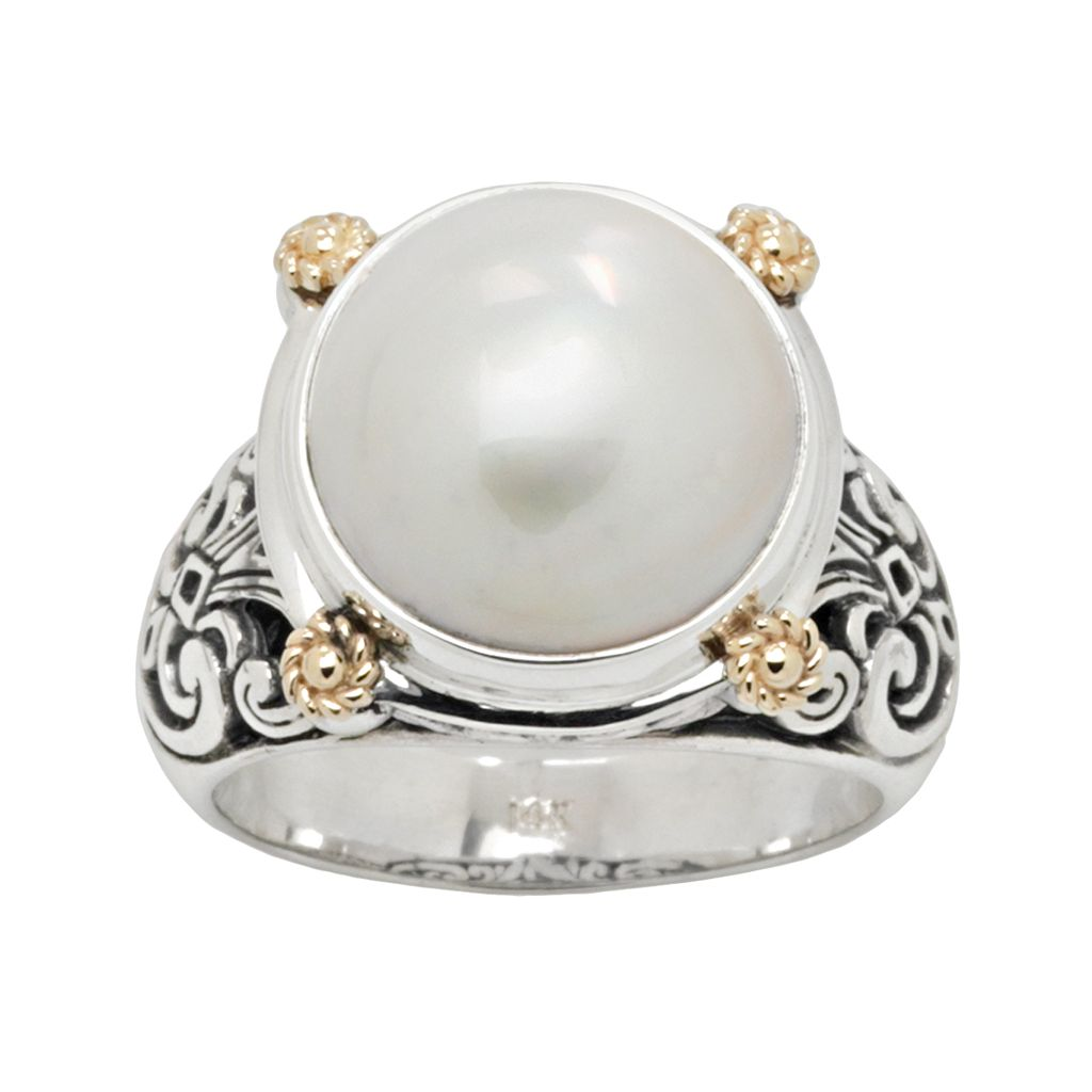 14k Gold & Sterling Silver Cultured Pearl Ring