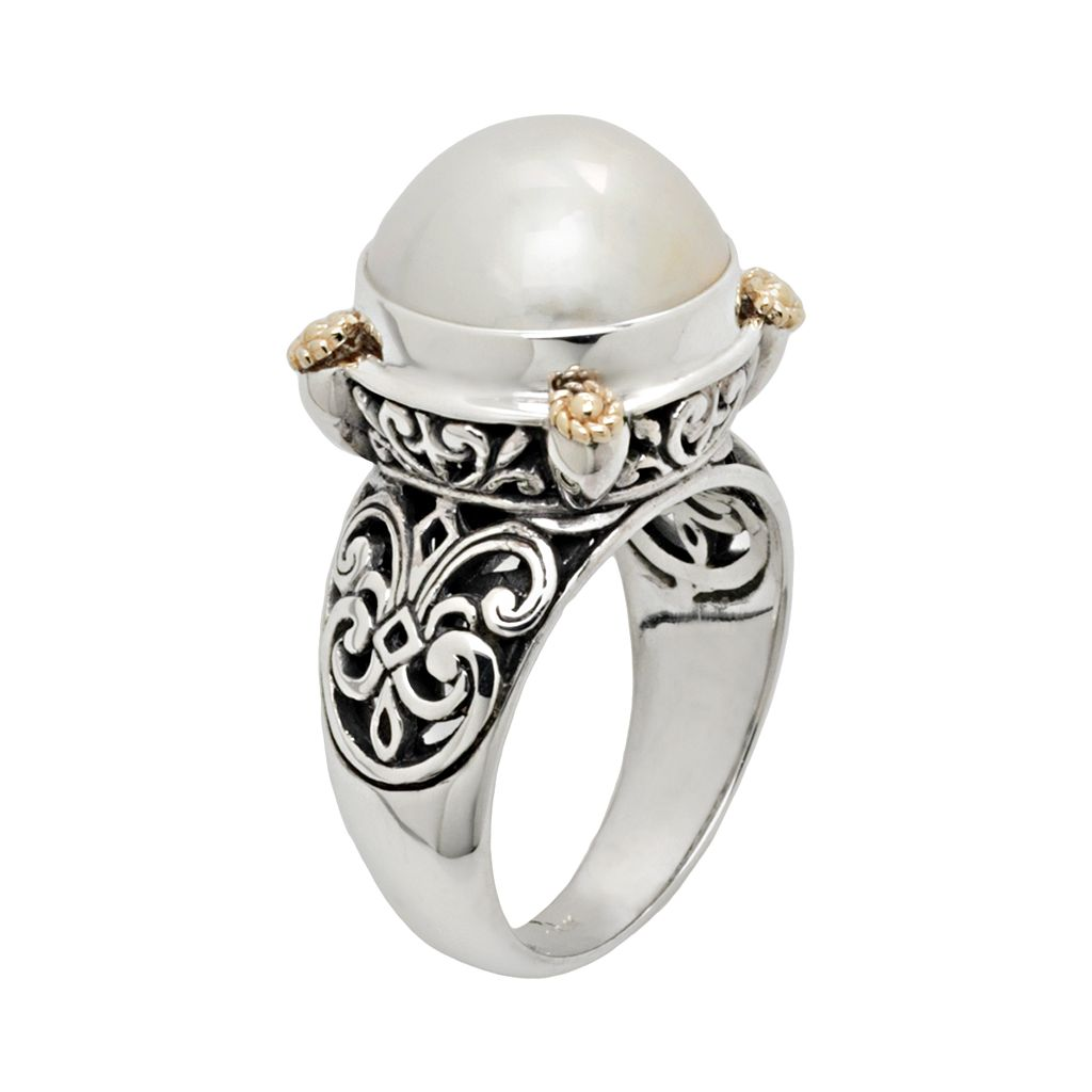 14k Gold and Sterling Silver Cultured Pearl Ring