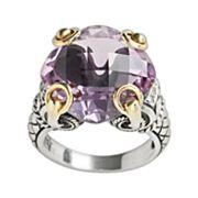 14k Gold and Sterling Silver Amethyst Ring