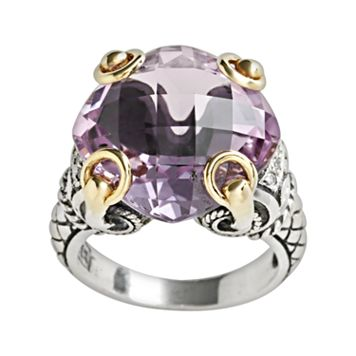 14k Gold & Sterling Silver Amethyst Ring