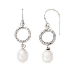 Diamond Fascination 14k White Gold Freshwater Cultured Pearl Drop Earrings