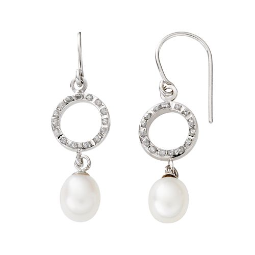 Diamond Fascination® 14k White Gold Freshwater Cultured Pearl Drop Earrings